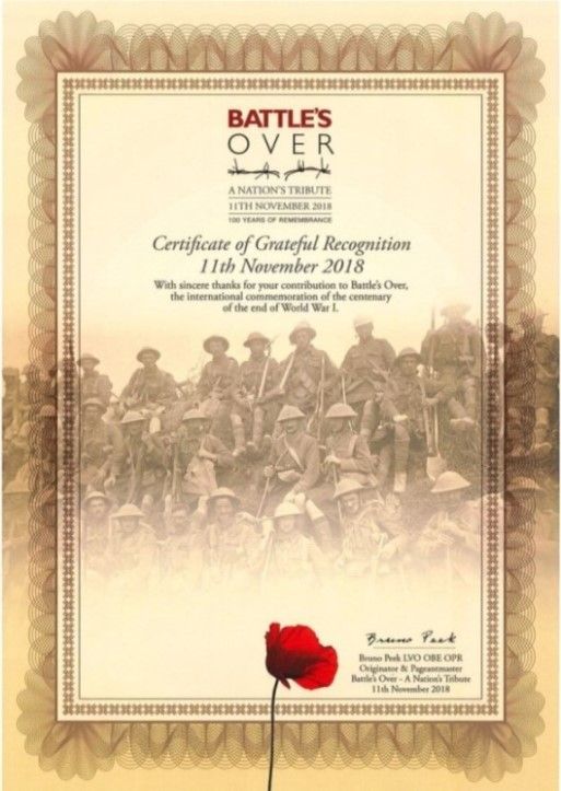 Battle's Over Certificate