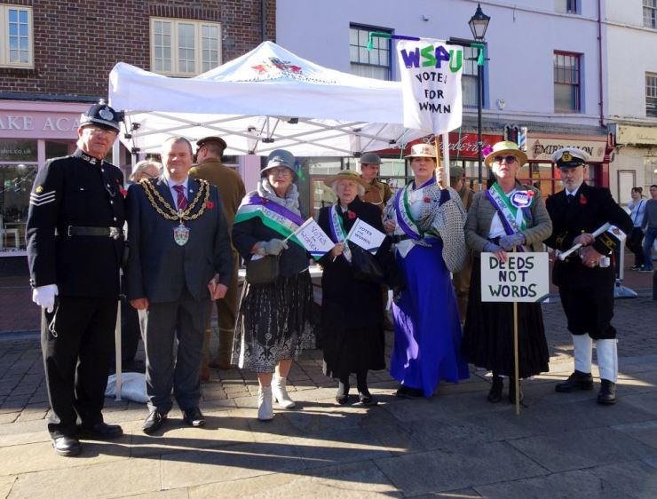 Suffragette reenactors with the Mayor in Neath Town Centre