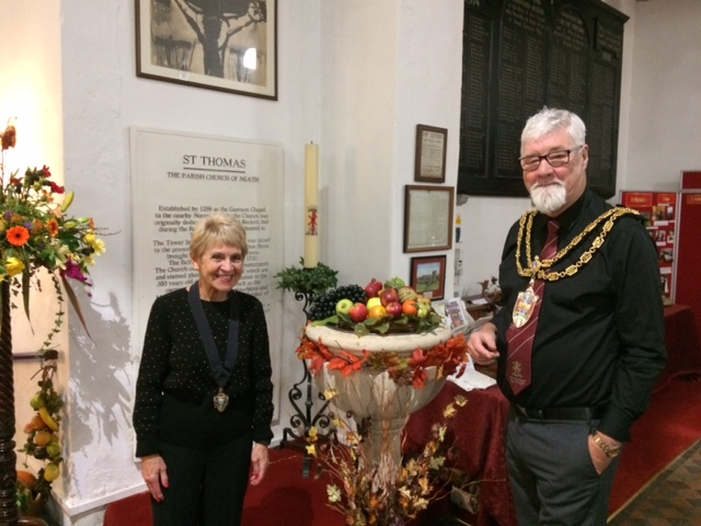 Mayor & Mayoress at St Thomas' Church Harvest font