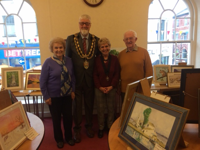 Mayor and Mayoress with Llansawel Art Group members