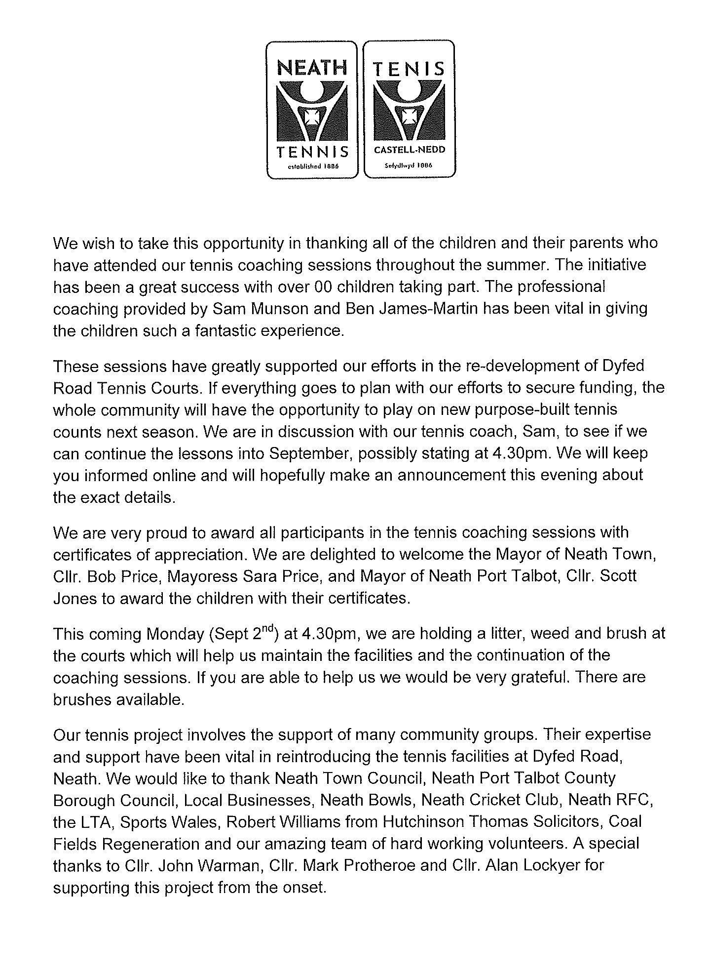 Neath Tennis press release