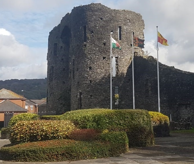 Neath Castle with Black History Month flag