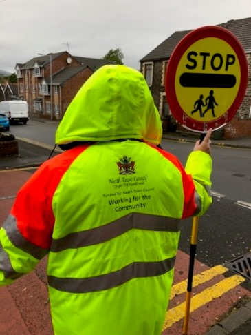 Back of School Crossing Officer with NTC logo on coat
